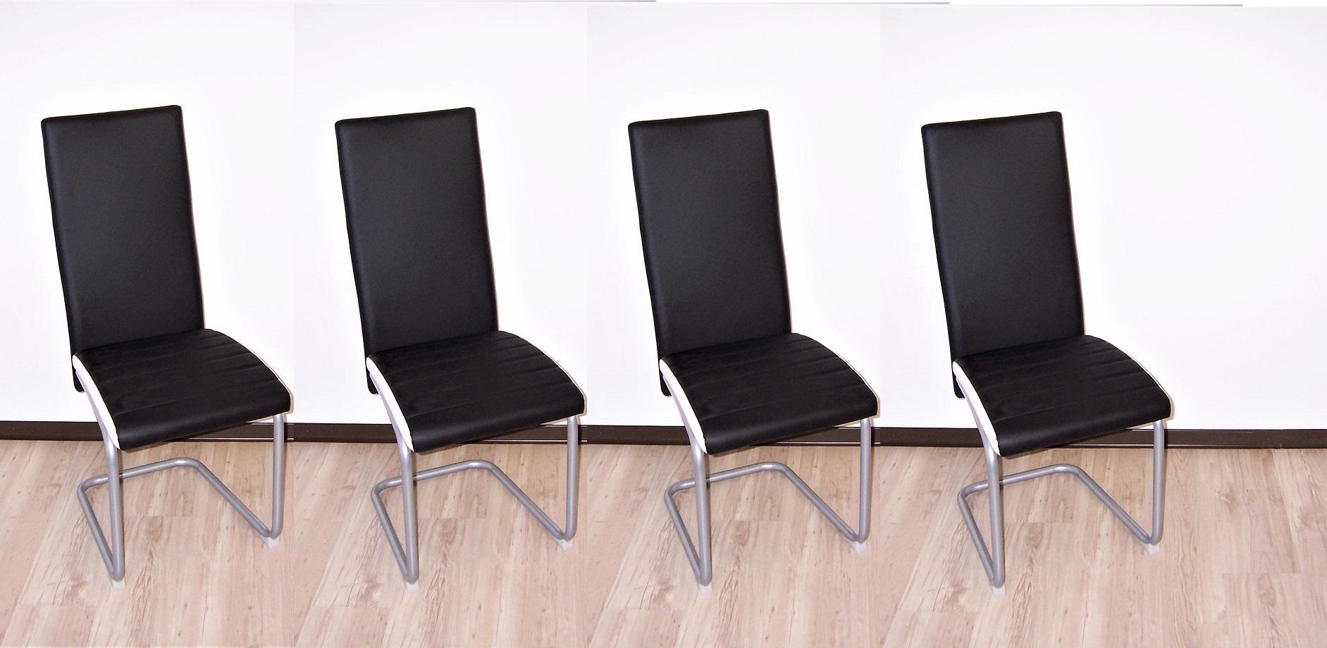 Schwarz Stuhl Er Schwinger Kunstleder Schwingstuhl Stühle Applikation 4 Set Weiss FKTcl1J3