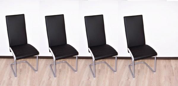 Stuhl Schwinger Schwingstuhl Stühle 4 Er Set Kunstleder Schwarz