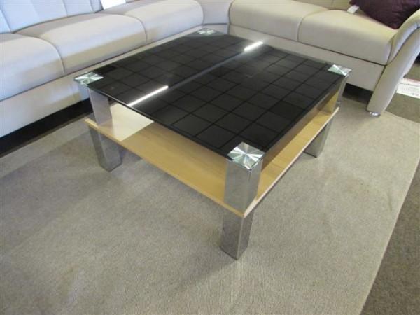 tisch couchtisch callas p02 80x80 cm glas schwarz ablage kernbuche neu wohnen. Black Bedroom Furniture Sets. Home Design Ideas