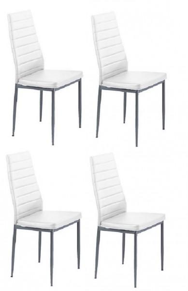 Stuhl Esszimmerstuhl Pega Stühle 4 Er Set Kunstleder Weiss Essen