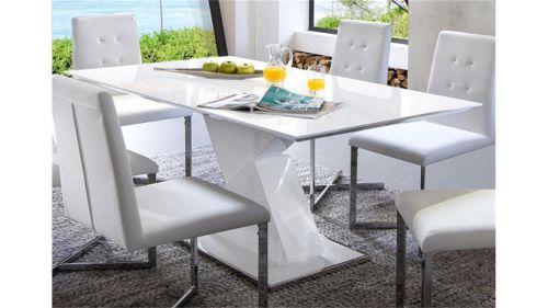 tisch esszimmertisch s ulentisch 90 x 140 180 cm cube 140 az hochglanz weiss. Black Bedroom Furniture Sets. Home Design Ideas